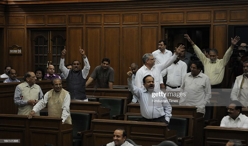 Opposition leader Vijay Kumar Malhotra and others reacting to the budget for the year 2013-14 at Old Secretariat on March 20, 2013 in New Delhi, India. Presenting the 15th consecutive budget of her government, Delhi CM Sheila Dikshit focused on on social sector projects in an election year. Out of Rs 16,000 crore earmarked as plan outlay, Rs 10,351 cr was allocated for social sector schemes.