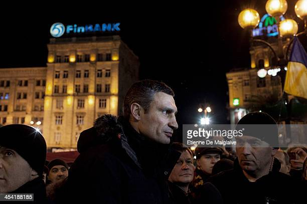 <Opposition leader Vitali Klitschko leaves the stage on Maidan Square after he delivred a seech on December 7 2013 in Kiev Ukraine Thousands of...