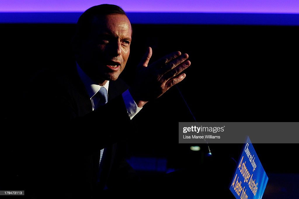 Opposition Leander, <a gi-track='captionPersonalityLinkClicked' href=/galleries/search?phrase=Tony+Abbott&family=editorial&specificpeople=220956 ng-click='$event.stopPropagation()'>Tony Abbott</a> speaks during a fundraiser dinner in Lilyfield on September 4, 2013 in Sydney, Australia. With just three days of campaigning before Saturday's Federal Election it looks increasingly unlikely that the Australian Labor Party will hold on to government as the Liberal-National Party coalition pulls ahead in polling.