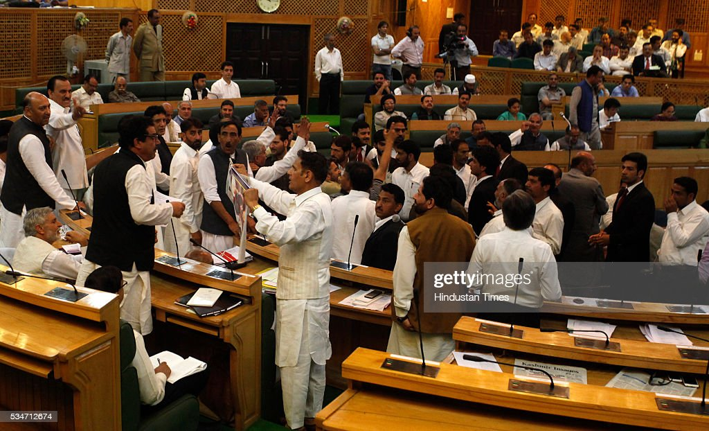 Opposition members protest during Jammu And Kashmir assembly session on May 27, 2016 in Srinagar, India.
