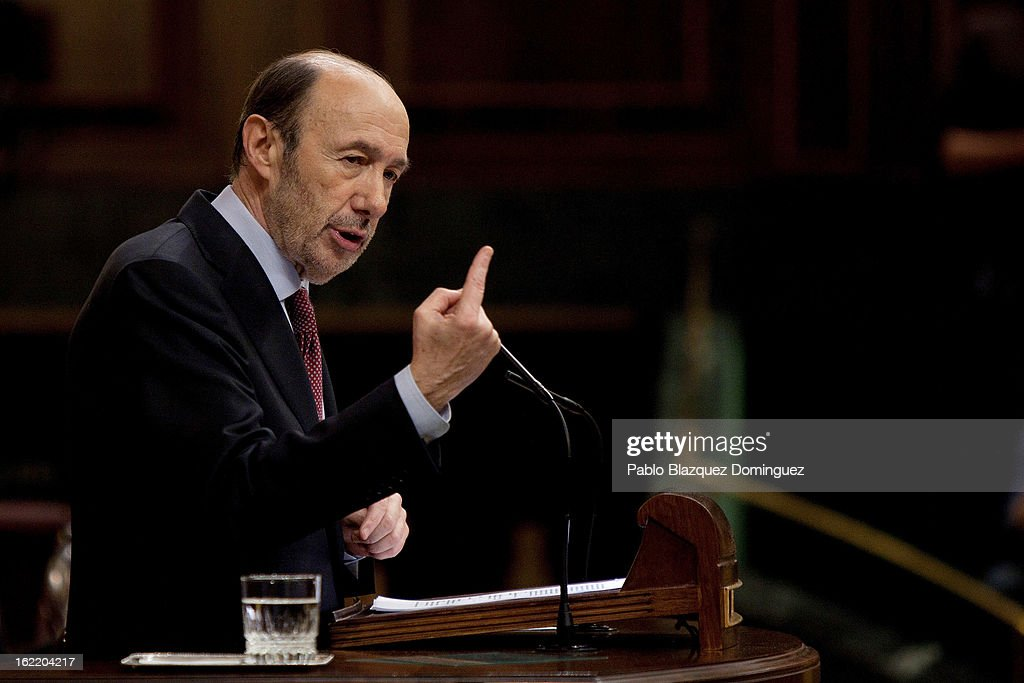 Opposition Party leader Alfredo Perez Rubalcaba delivers a speech during Mariano Rajoy's first State of Nation Debate as Prime Minister at Parliament...