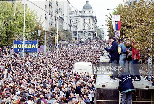 Opposition party supporters demonstrate October 3 2000 in Belgrade Yugoslavia About 100000 people demonstrated in the downtown area Yugoslav...