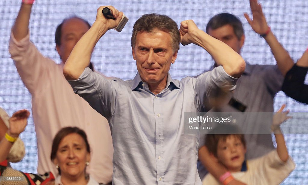 Opposition presidential candidate Mauricio Macri celebrates after defeating ruling party candidate Daniel Scioli in a runoff election on November 22, 2015 in Buenos Aires, Argentina. Argentina faced its first presidential election runoff in the history of the country with Macri winning decisively ending 12 years of Peronist rule.