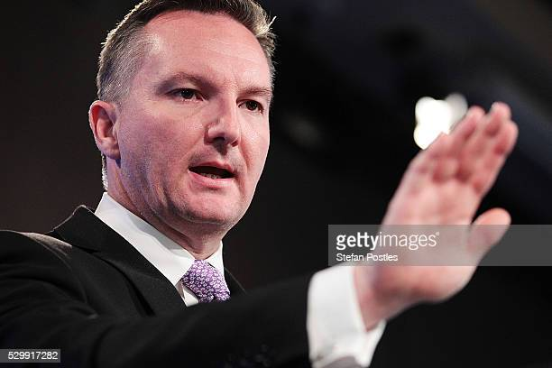 Opposition treasurer Chris Bowen delivers his budget reply address at National Press Club on May 10 2016 in Canberra Australia The Turnbull...