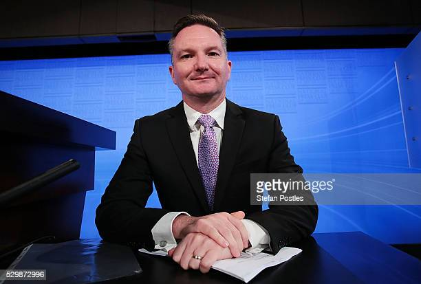 Opposition treasurer Chris Bowen prepares to deliver his budget reply address at National Press Club on May 10 2016 in Canberra Australia The...