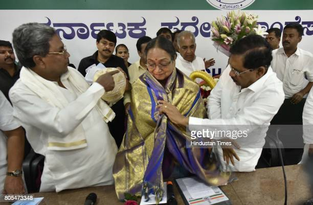 Oppositions Presidential election candidate Meira Kumar on July 1 2017 in Bengaluru India