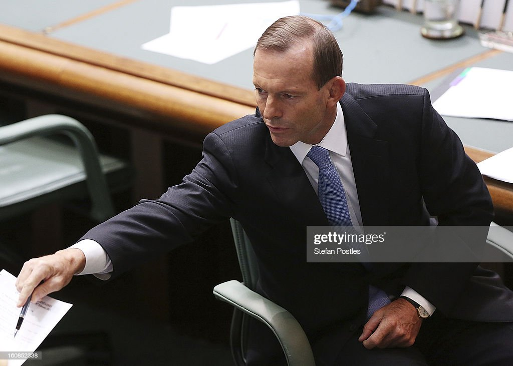 Oppostion leader Tony Abbott during House of Representatives question time at Parliament House on February 7, 2013 in Canberra, Australia. Parliament resumes for the first sitting of 2013 this week, just days after Prime Minister Gillard, announced a federal election date of September 14, 2013.
