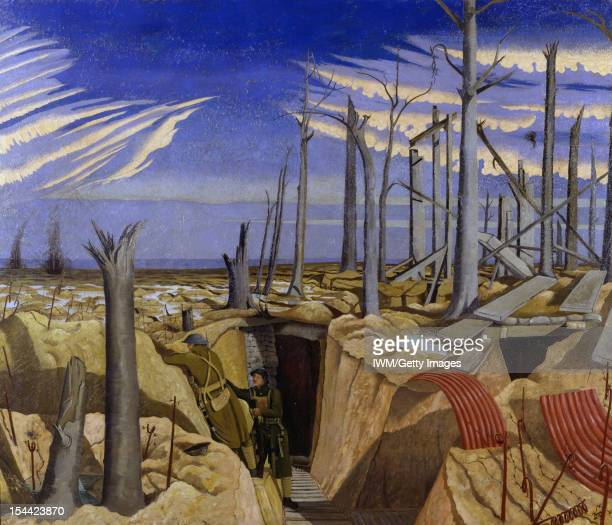 Oppy Wood 1917 Evening the lower half of the composition has a view inside a trench with duckboard paths leading to a dugout Two infantrymen stand to...