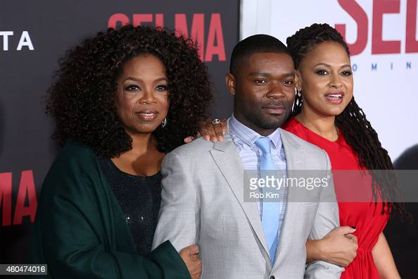Oprah Winfrey actor David Oyelowo and director and executive producer Ava Duvernay attend the 'Selma' New York Premiere at Ziegfeld Theater on...