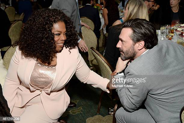 Oprah Winfrey and actor Jon Hamm attend the 15th Annual AFI Awards Luncheon at Four Seasons Hotel Los Angeles at Beverly Hills on January 9 2015 in...