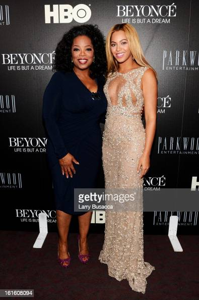 Oprah Winfrey and Beyonce attend the HBO Documentary Film 'Beyonce Life Is But A Dream' New York Premiere at the Ziegfeld Theater on February 12 2013...