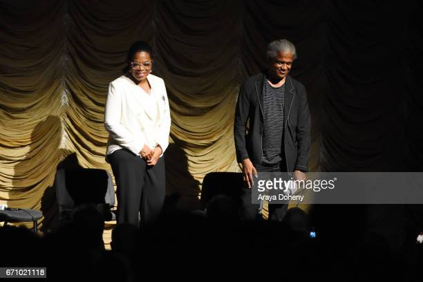 Oprah Winfrey and Elvis Mitchell attend the Film Independent at LACMA Special Screening and QA of 'The Life Of Henrietta Lacks' at Bing Theatre At...