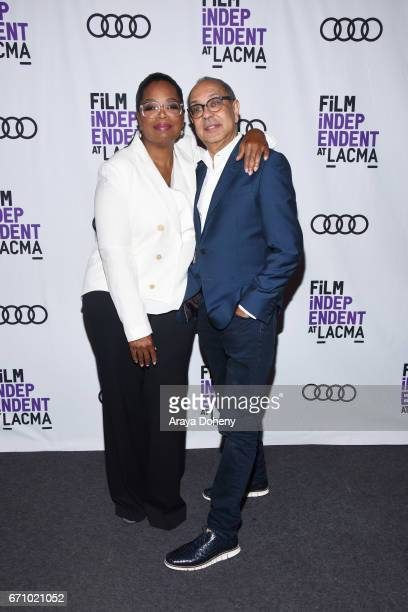 Oprah Winfrey and George C Wolfe attend the Film Independent at LACMA Special Screening and QA of 'The Life Of Henrietta Lacks' at Bing Theatre At...
