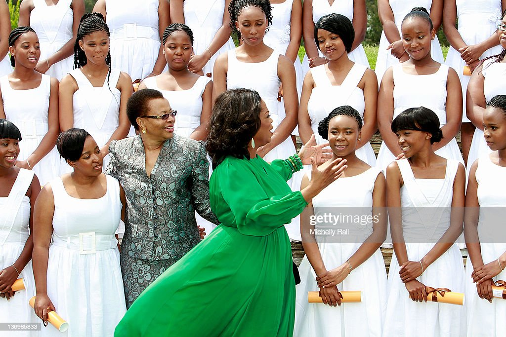 <a gi-track='captionPersonalityLinkClicked' href=/galleries/search?phrase=Oprah+Winfrey&family=editorial&specificpeople=171750 ng-click='$event.stopPropagation()'>Oprah Winfrey</a> and Graca Machel, the wife of former South African president Nelson Mandela, greet the graduates at the inaugural graduation of the class of 2011 at <a gi-track='captionPersonalityLinkClicked' href=/galleries/search?phrase=Oprah+Winfrey&family=editorial&specificpeople=171750 ng-click='$event.stopPropagation()'>Oprah Winfrey</a> Leadership Academy for Girls on January 14, 2012 in Henley on Klip, South Africa.