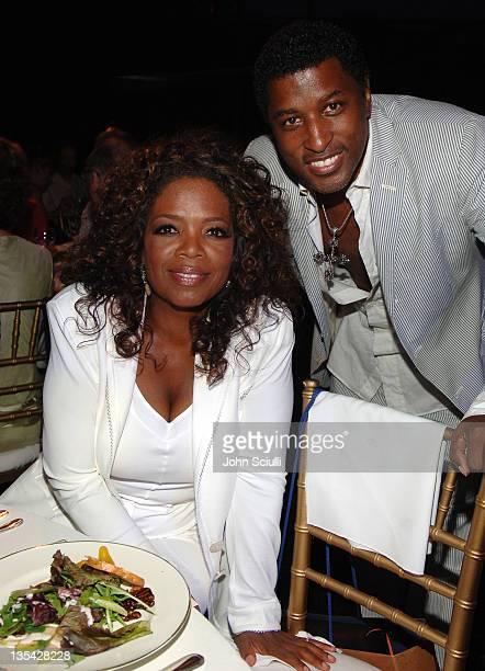Oprah Winfrey and Kenny 'Babyface' Edmonds during Starry Night Benefit Honoring Los Angeles Mayor Antonio Villaraigosa Inside at Villa Casablanca in...