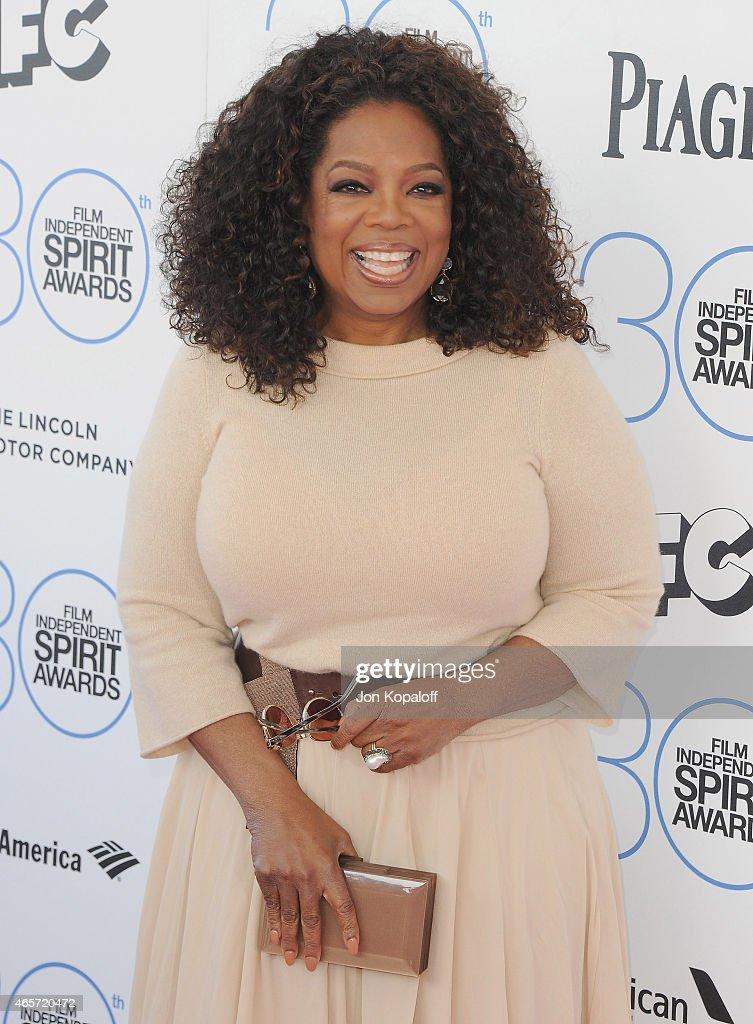 Oprah Winfrey arrives at the 2015 Film Independent Spirit Awards on February 21 2015 in Santa Monica California