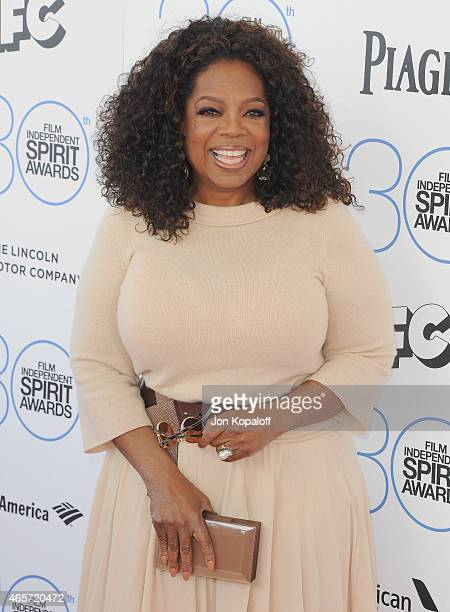 Oprah Winfrey arrives at the 2015 Film Independent Spirit Awards on February 21 2015 in Santa Monica California