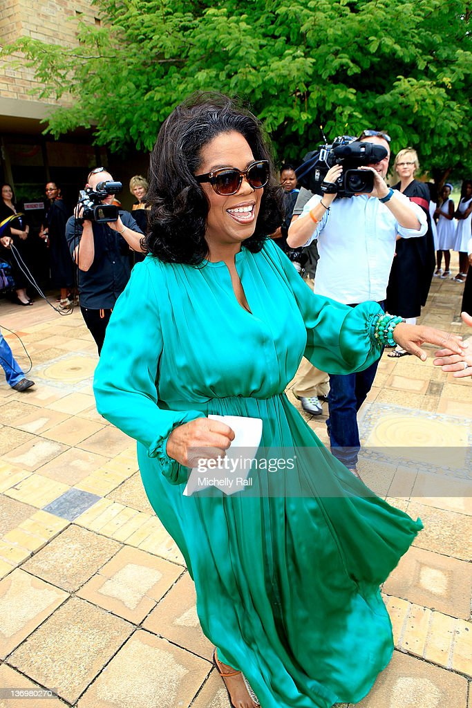 Oprah Winfrey arrives at the inaugural graduation of the class of 2011 at Oprah Winfrey Leadership Academy for Girls on January 14, 2012 in Henley on Klip, South Africa.