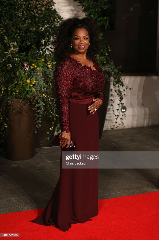 Oprah Winfrey arrives for an official dinner party after the EE British Academy Film Awards at The Grosvenor House Hotel on February 16 2014 in...