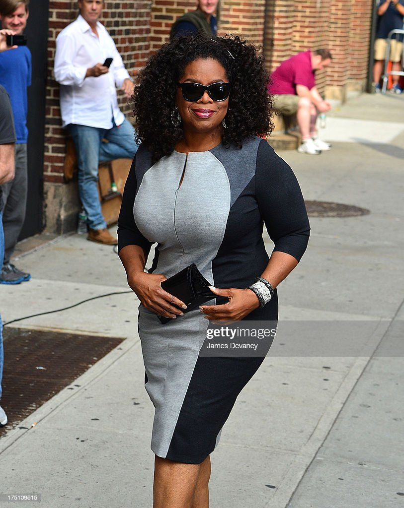 <a gi-track='captionPersonalityLinkClicked' href=/galleries/search?phrase=Oprah+Winfrey&family=editorial&specificpeople=171750 ng-click='$event.stopPropagation()'>Oprah Winfrey</a> arrives to the 'Late Show with David Letterman' at Ed Sullivan Theater on July 31, 2013 in New York City.