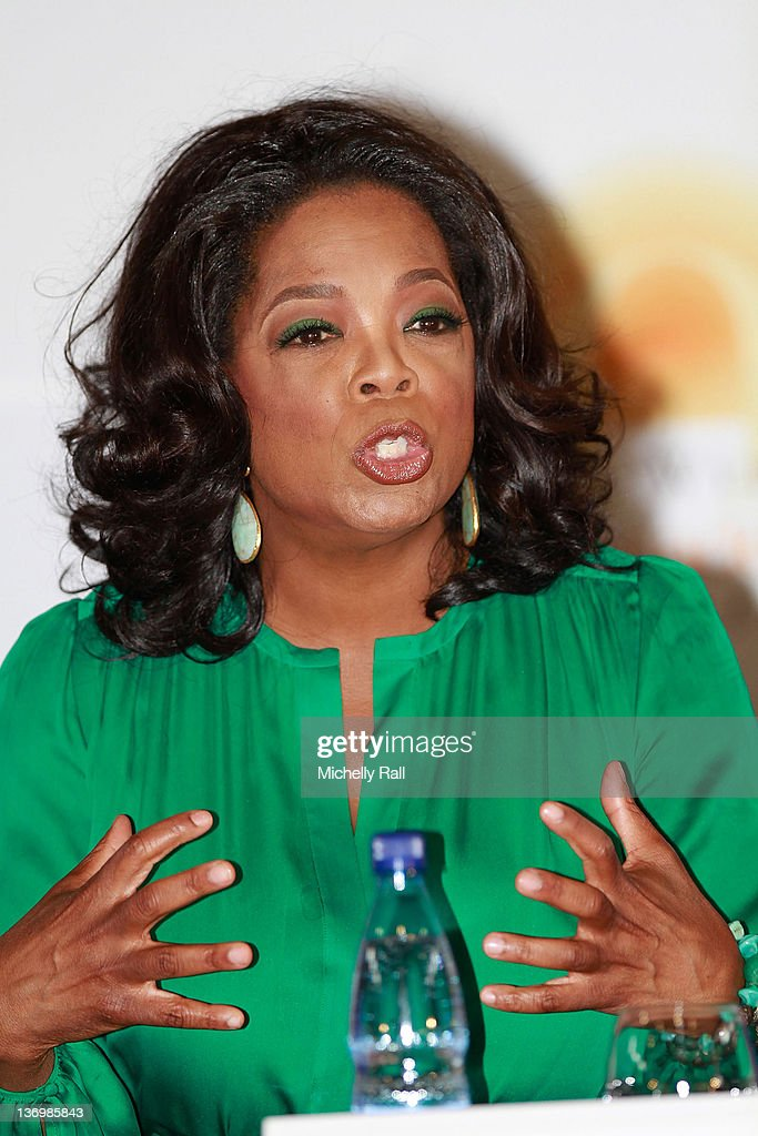 Oprah Winfrey attends a press conference at the inaugural graduation of the class of 2011 at Oprah Winfrey Leadership Academy for Girls on January 14, 2012 in Henley on Klip, South Africa.