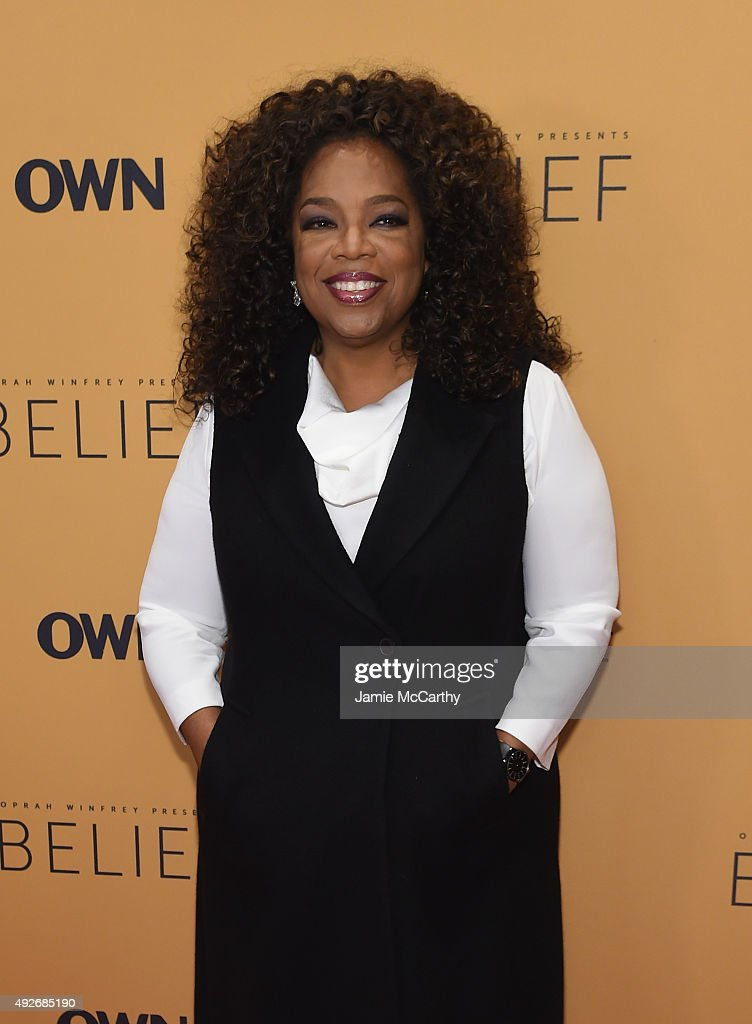 Oprah Winfrey attends the 'Belief' New York premiere at TheTimesCenter on October 14, 2015 in New York City.