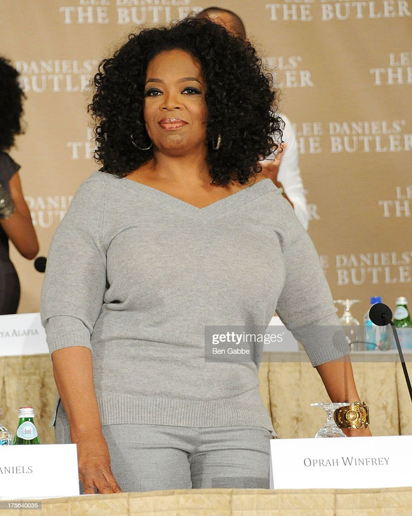 <a gi-track='captionPersonalityLinkClicked' href=/galleries/search?phrase=Oprah+Winfrey&family=editorial&specificpeople=171750 ng-click='$event.stopPropagation()'>Oprah Winfrey</a> attends the press conference for The Weinstein Company's LEE DANIELS' THE BUTLER at Waldorf Astoria Hotel on August 5, 2013 in New York City.