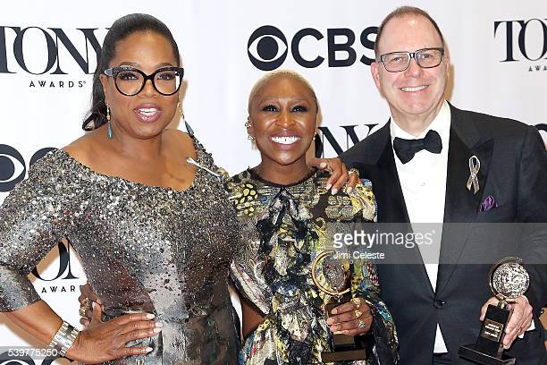 Oprah Winfrey Cynthia Erivo and Scott Sanderattend 2016 Tony Awards Media Room at The Jewish Community Center in Manhattan on June 12 2016 in New...