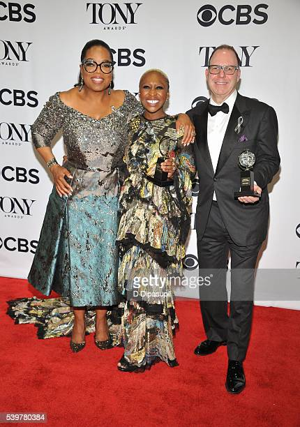 Oprah Winfrey Cynthia Erivo and Scott Sanders pose in the press room at the 70th Annual Tony Awards at the Beacon Theatre on June 12 2016 in New York...