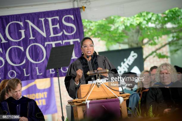 Oprah Winfrey delivers the commencement speech at Agnes Scott College on May 13 2017 in Decatur Georgia