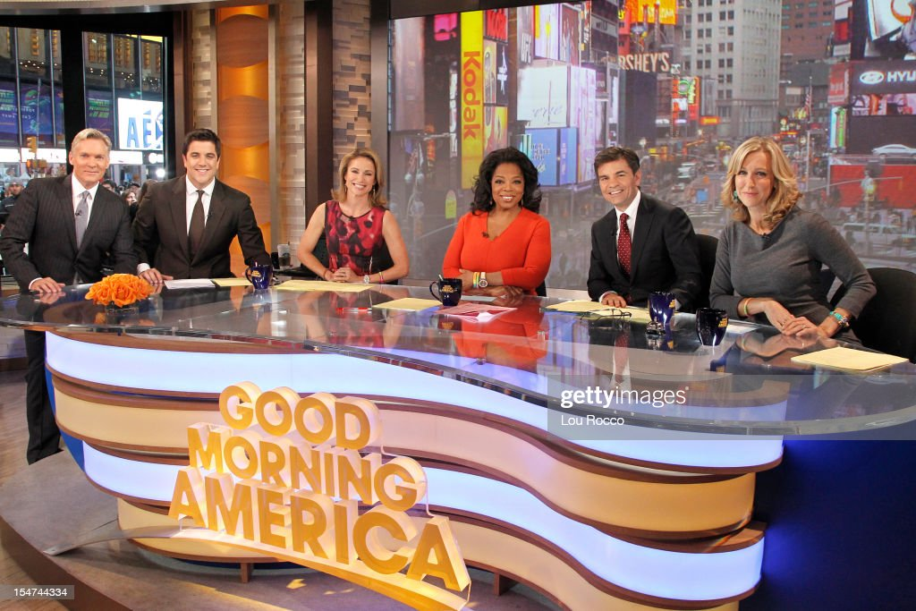 AMERICA - Oprah Winfrey is a guest co-host on 'Good Morning America,' 10/25/12, airing on the ABC Television Network. (Photo by Lou Rocco/ABC via Getty Images) SAM CHAMPION, JOSH ELLIOTT, AMY ROBACH, OPRAH WINFREY, GEORGE STEPHANOPOULOS, LARA SPENCER
