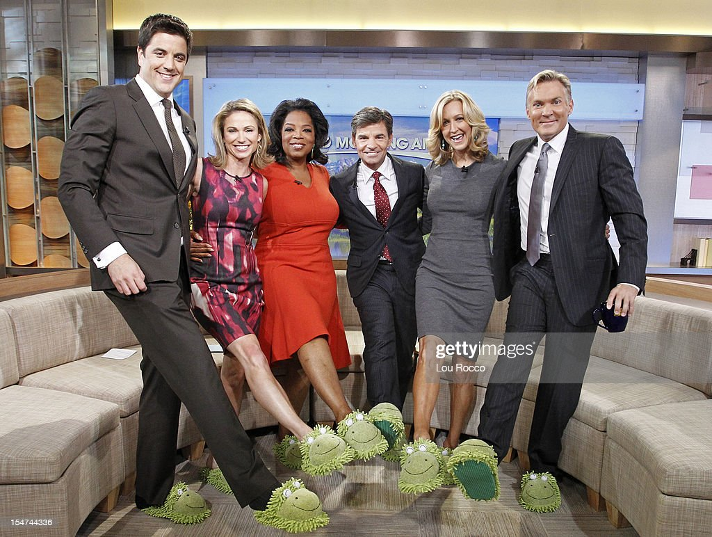 AMERICA - Oprah Winfrey is a guest co-host on 'Good Morning America,' 10/25/12, airing on the ABC Television Network. (Photo by Lou Rocco/ABC via Getty Images) JOSH ELLIOTT, AMY ROBACH, OPRAH WINFREY, GEORGE STEPHANOPOULOS, LARA SPENCER, SAM CHAMPION