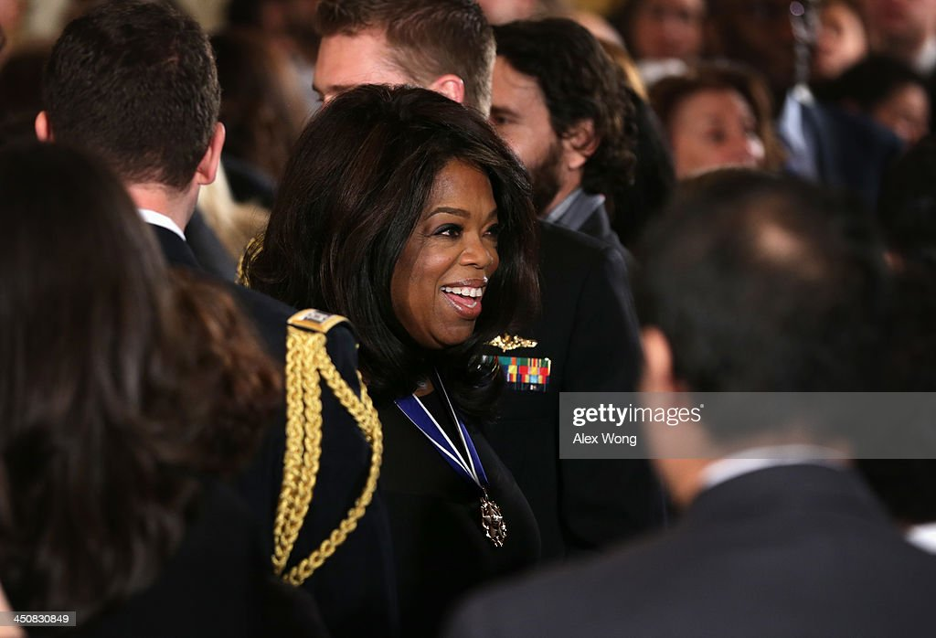 <a gi-track='captionPersonalityLinkClicked' href=/galleries/search?phrase=Oprah+Winfrey&family=editorial&specificpeople=171750 ng-click='$event.stopPropagation()'>Oprah Winfrey</a> leaves after the Presidential Medal of Freedom presentation ceremony in the East Room at the White House on November 20, 2013 in Washington, DC. The Presidential Medal of Freedom is the nation's highest civilian honor, presented to individuals who have made meritorious contributions to the security or national interests of the United States, to world peace, or to cultural or other significant public or private endeavors.