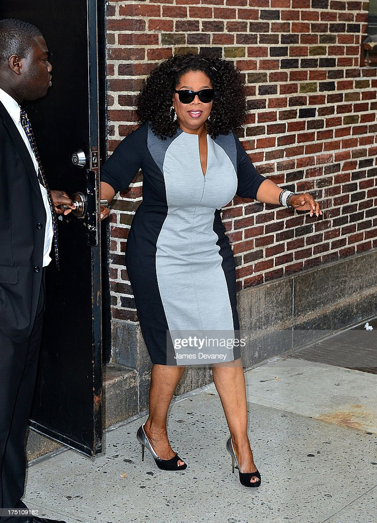 Oprah Winfrey leaves the 'Late Show with David Letterman' at Ed Sullivan Theater on July 31, 2013 in New York City.