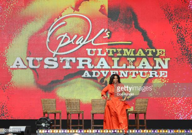 Oprah Winfrey looks out during the first taping of the 'Oprah Winfrey Show' at the Sydney Opera House on December 14 2010 in Sydney Australia 12000...