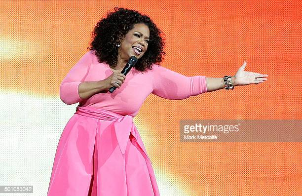 Oprah Winfrey on stage during her An Evening With Oprah tour on December 12 2015 in Sydney Australia
