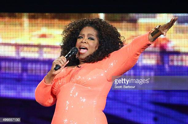 Oprah Winfrey on stage during her An Evening With Oprah tour on December 2 2015 in Melbourne Australia