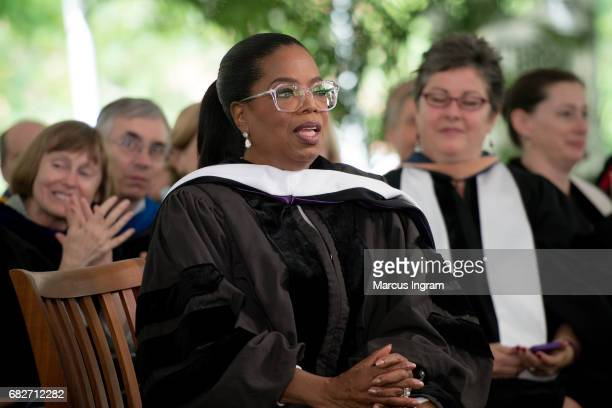 Oprah Winfrey on stage during the Agnes Scott College 2017 Commencement at Agnes Scott College on May 13 2017 in Decatur Georgia