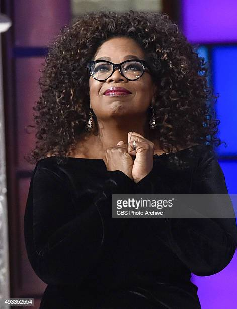 Oprah Winfrey on The Late Show with Stephen Colbert Thursday Oct 15 2015 on the CBS Television Network