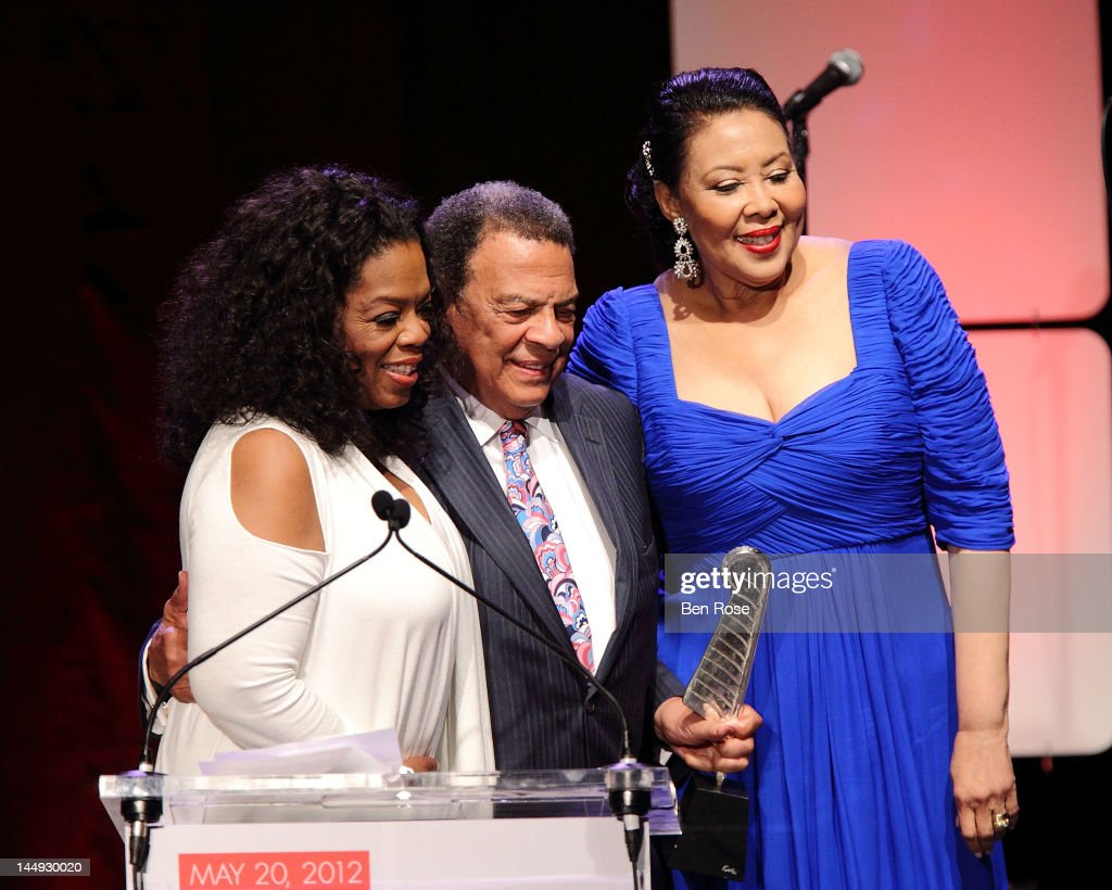 <a gi-track='captionPersonalityLinkClicked' href=/galleries/search?phrase=Oprah+Winfrey&family=editorial&specificpeople=171750 ng-click='$event.stopPropagation()'>Oprah Winfrey</a> poses with Former Ambassador <a gi-track='captionPersonalityLinkClicked' href=/galleries/search?phrase=Andrew+Young+-+Politician&family=editorial&specificpeople=13781909 ng-click='$event.stopPropagation()'>Andrew Young</a> and his wife, Carolyn Young, during The <a gi-track='captionPersonalityLinkClicked' href=/galleries/search?phrase=Andrew+Young+-+Politician&family=editorial&specificpeople=13781909 ng-click='$event.stopPropagation()'>Andrew Young</a> Foundation's celebration of the 80th birthday of <a gi-track='captionPersonalityLinkClicked' href=/galleries/search?phrase=Andrew+Young+-+Politician&family=editorial&specificpeople=13781909 ng-click='$event.stopPropagation()'>Andrew Young</a> at The Hyatt Regency Atlanta on May 20, 2012 in Atlanta, Georgia.