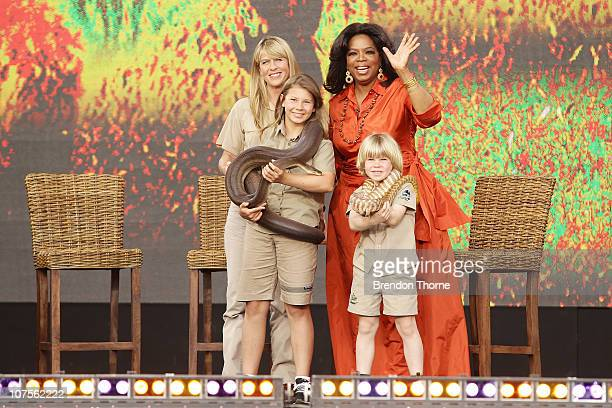 Oprah Winfrey poses with Terri Irwin Bindi Irwin and Robert Irwin during the first taping of the 'Oprah Winfrey Show' at the Sydney Opera House on...