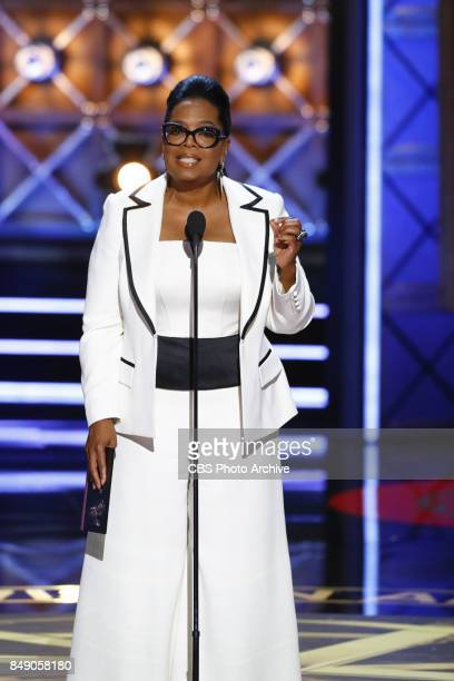 Oprah Winfrey presents the Emmy Award for Outstanding Drama Series at the 69TH PRIMETIME EMMY AWARDS LIVE from the Microsoft Theater in Los Angeles...