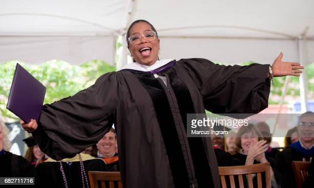Oprah Winfrey receives a honorary degree during the Agnes Scott College 2017 Commencement at Agnes Scott College on May 13 2017 in Decatur Georgia