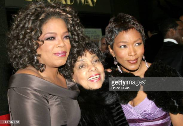 Oprah Winfrey Ruby Dee and Angela Bassett during 'The Color Purple' Broadway Opening Night Arrivals at The Broadway Theatre in New York City New York...