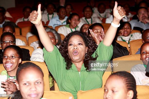 Oprah Winfrey sits with the learners in the auditorium of the Oprah Winfrey Leadership Academy for Girls on June 16 2009 in HenleyonKlip South Africa...