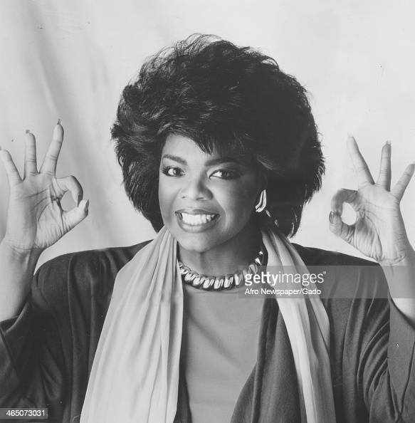 Oprah Winfrey smiles and gives the Okay sign during her time hosting the television show People Are Talking 1978