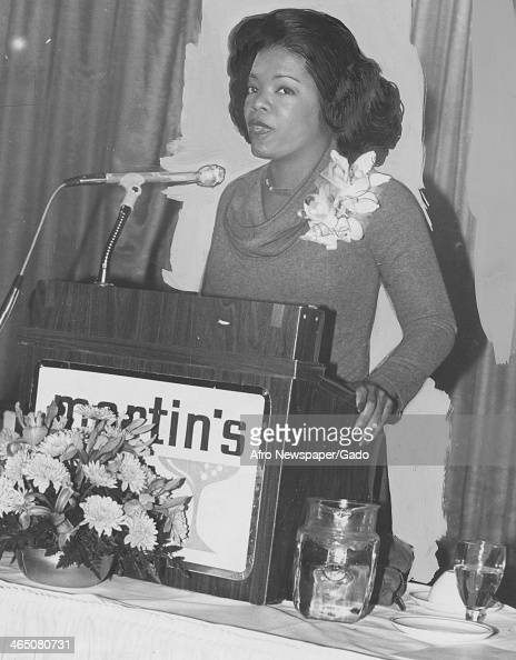 Oprah Winfrey speaks at a podium early in her career during her time at WJZ Baltimore Maryland January 20 1978