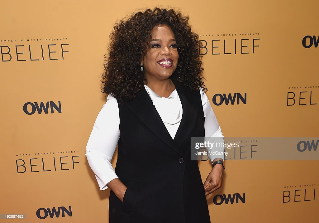 Oprah Winfrey speaks at the 'Belief' New York premiere at TheTimesCenter on October 14, 2015 in New York City.