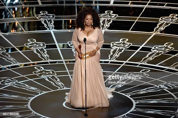 Oprah Winfrey speaks onstage during the 87th Annual Academy Awards at Dolby Theatre on February 22 2015 in Hollywood California
