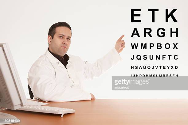 Opthalmologist pointing to an eye chart